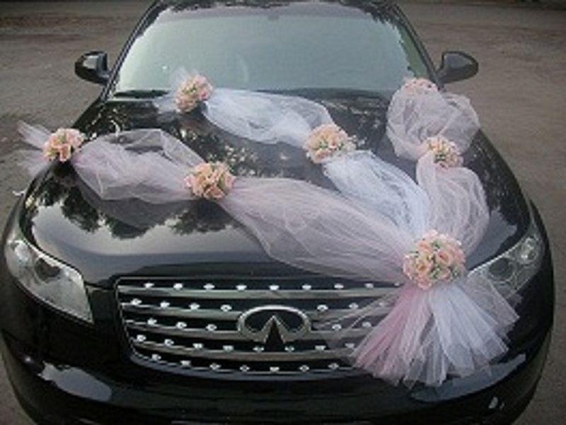 Как украсить свадебную машину своими руками фатином видео
