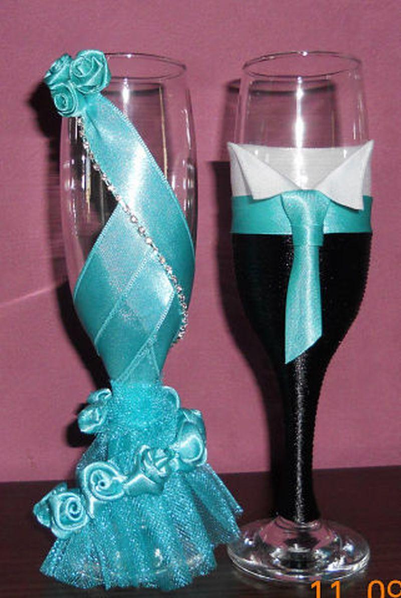 Как украсить бокал на свадьбу своими руками