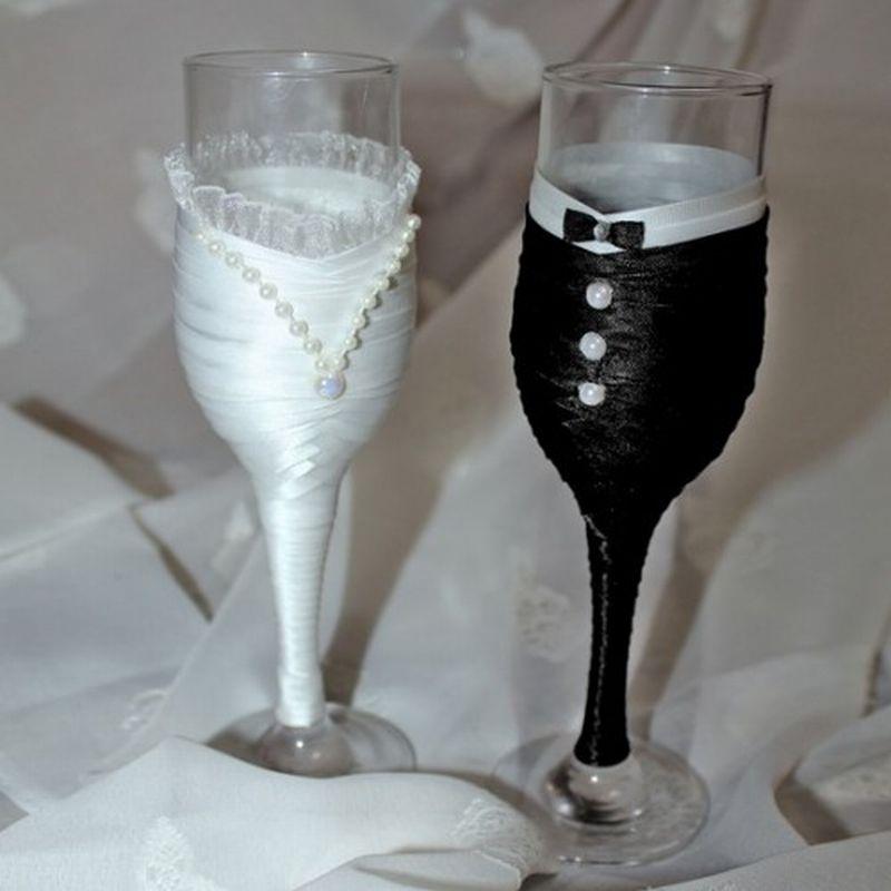 Свадебные бокалы своими руками мастер класс жених и невеста