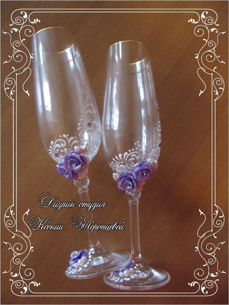 Фото дизайна свадебных фужеров