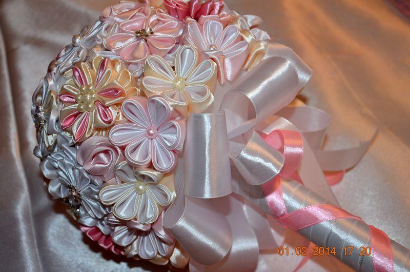 Букет невесты из лент атласных лент своими руками мастер класс