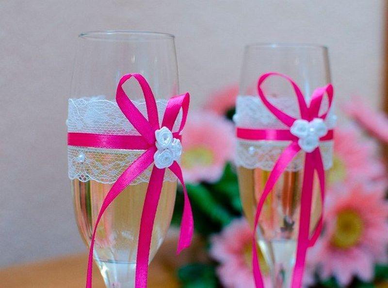 Бокалы на свадьбу фото своими руками