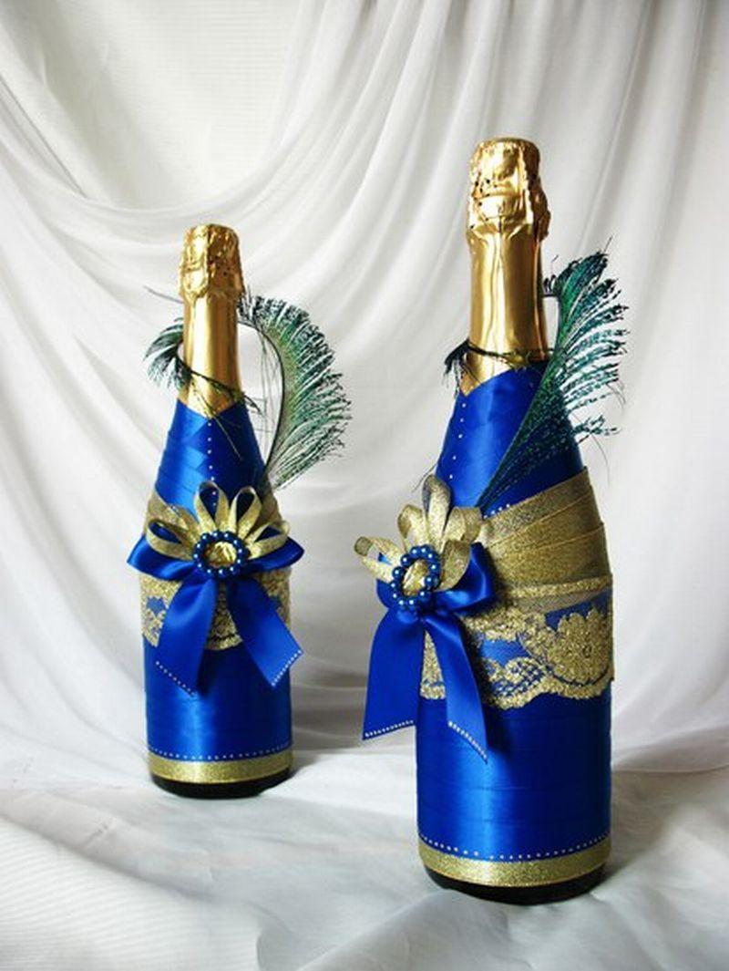 Как красиво украсить бутылку на новый год своими руками