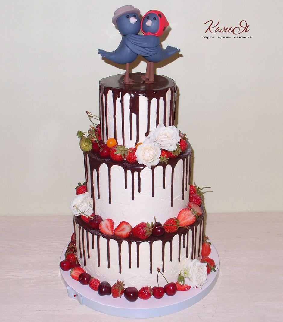 Торты с подтеками свадебные
